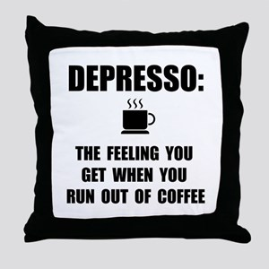 Depresso Coffee Throw Pillow