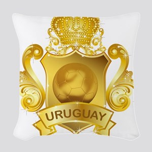 Gold Football Uruguay Woven Throw Pillow