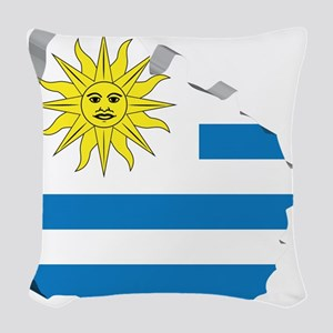 3D Map Of Uruguay Woven Throw Pillow