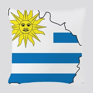 Map Of Uruguay Woven Throw Pillow