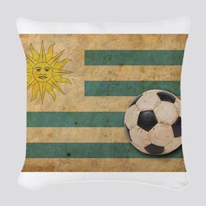 Vintage Uruguay Football Woven Throw Pillow