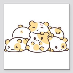 "Kawaii Hamster Pile Square Car Magnet 3"" x 3"""