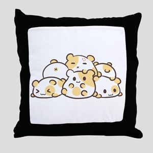 Kawaii Hamster Pile Throw Pillow
