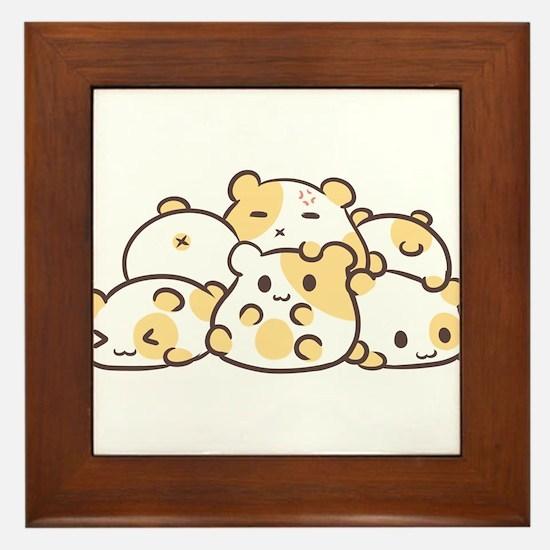 Kawaii Hamster Pile Framed Tile