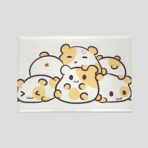 Kawaii Hamster Pile Rectangle Magnet