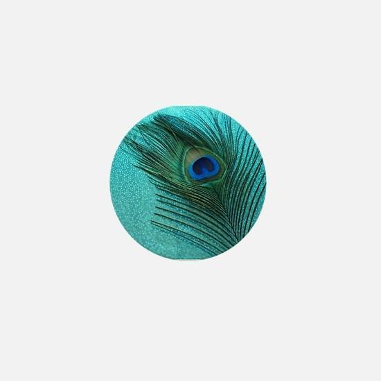 Metallic Aqua Peacock Mini Button