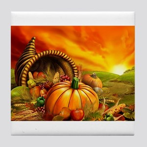 A Thanksgiving Bountiful Harvest Tile Coaster