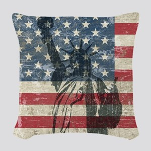 Vintage Statue Of Liberty Woven Throw Pillow
