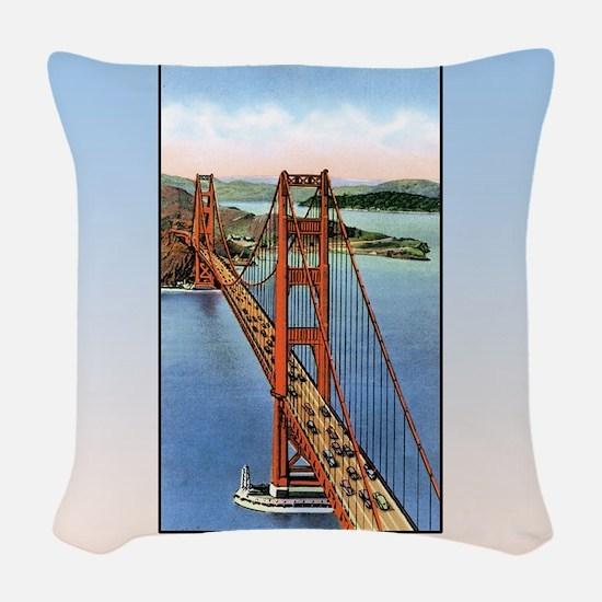 Vintage Golden Gate Bridge Woven Throw Pillow