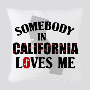 Somebody In California Woven Throw Pillow