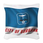 Wavy Burbank Flag Woven Throw Pillow