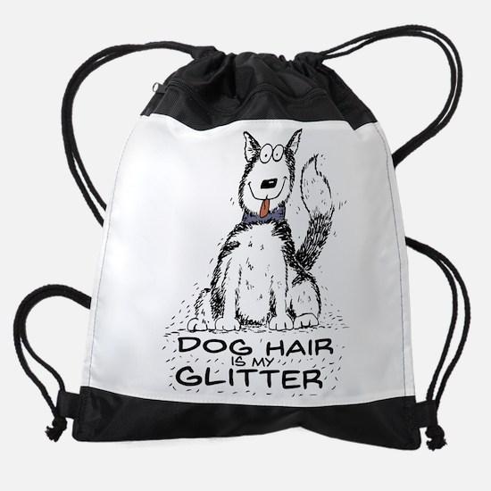Dog Hair is My Glitter Drawstring Bag