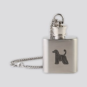 Grey Afghan Hound Flask Necklace