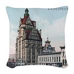 Grunge Wisconsin Flag Woven Throw Pillow