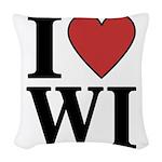 I Love Wisconsin Woven Throw Pillow