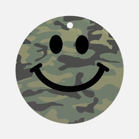 Green Camo Smiley Face Ornament (Round)