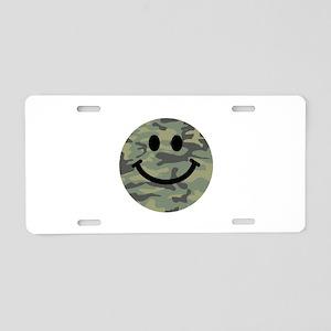 Green Camo Smiley Face Aluminum License Plate