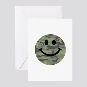Green Camo Smiley Face Greeting Cards (Pk of 20)