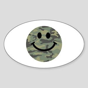 Green Camo Smiley Face Sticker