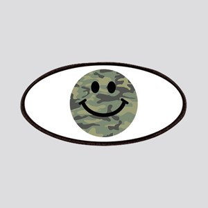 Green Camo Smiley Face Patches