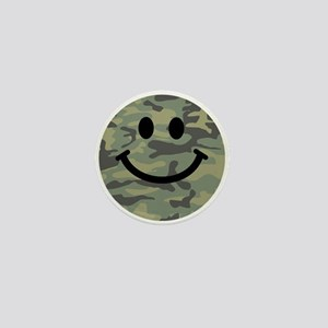 Green Camo Smiley Face Mini Button