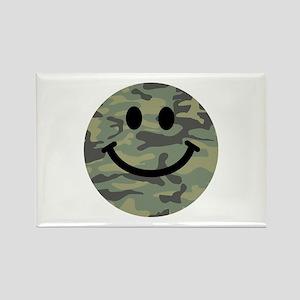 Green Camo Smiley Face Rectangle Magnet