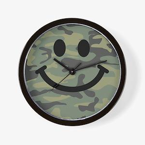 Green Camo Smiley Face Wall Clock