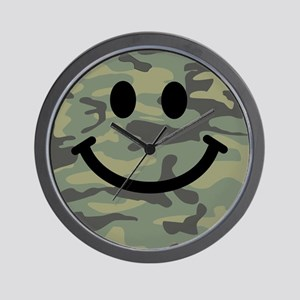 Green Camo Smiley Face Wall Clock
