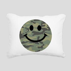 Green Camo Smiley Face Rectangular Canvas Pillow