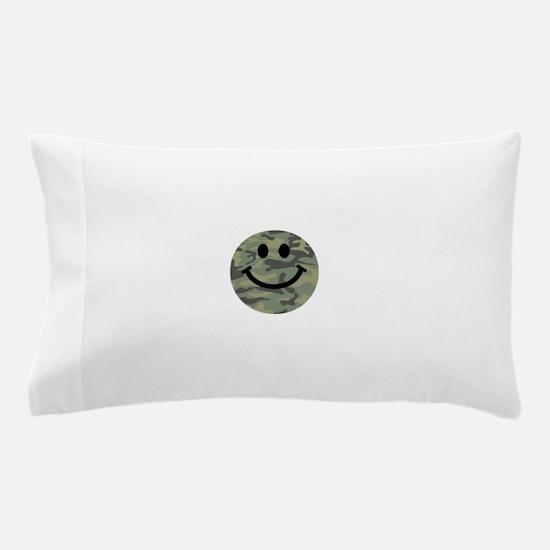Green Camo Smiley Face Pillow Case