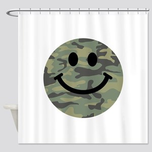 Green Camo Smiley Face Shower Curtain