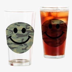 Green Camo Smiley Face Drinking Glass