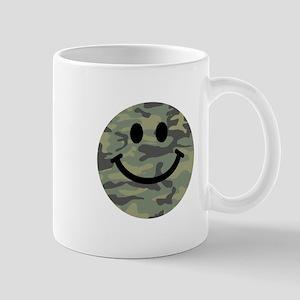 Green Camo Smiley Face Small Mug