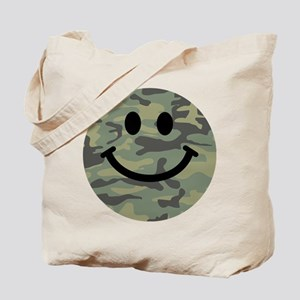 Green Camo Smiley Face Tote Bag