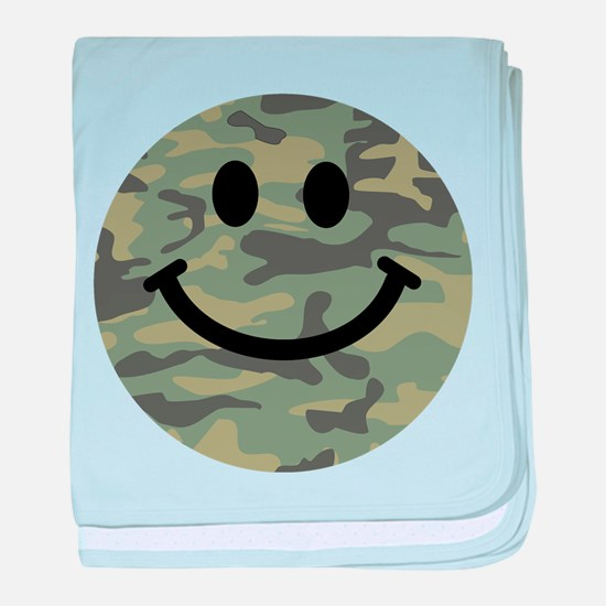 Green Camo Smiley Face baby blanket