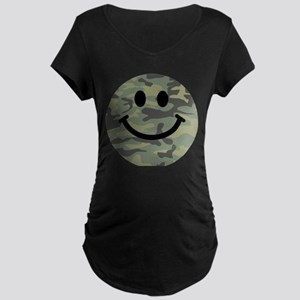 Green Camo Smiley Face Maternity T-Shirt