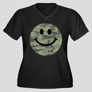 Green Camo Smiley Face Plus Size T-Shirt