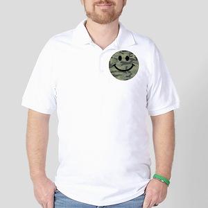 Green Camo Smiley Face Golf Shirt