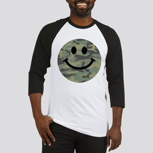 Green Camo Smiley Face Baseball Jersey
