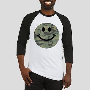 Green Camo Smiley Face Baseball Jersey