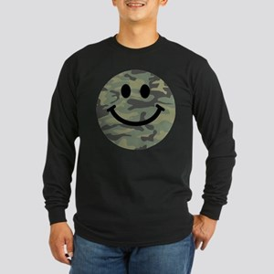 Green Camo Smiley Face Long Sleeve T-Shirt