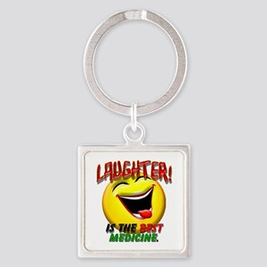 LAUGHTER IS THE BEST MED 1 pract flat Keychain