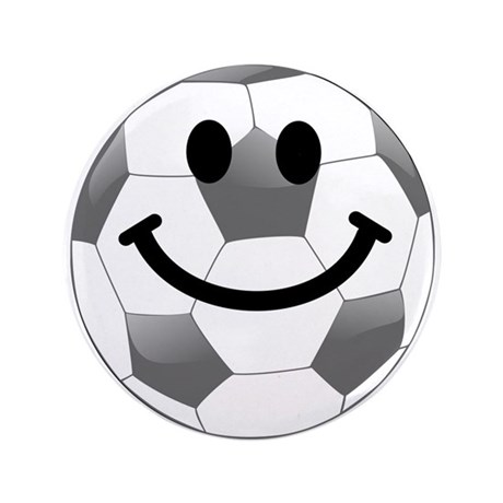 """Soccer ball smiley face 3.5"""" Button"""