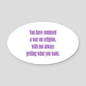 War on Religion Oval Car Magnet