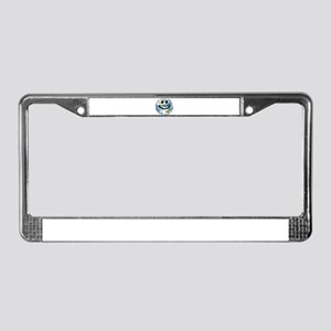 Happy earth smiley face License Plate Frame