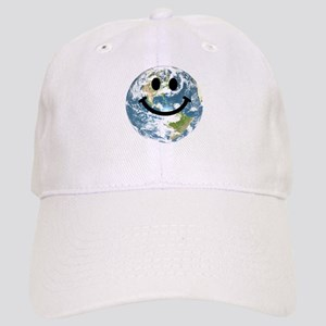 Happy earth smiley face Cap