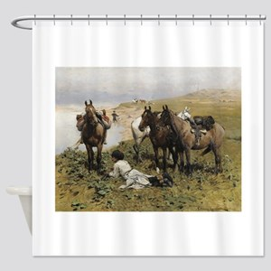 Resting with Horses Kaukaski Shower Curtain
