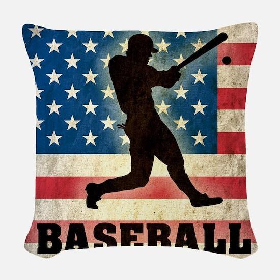 Grunge USA Baseball Woven Throw Pillow