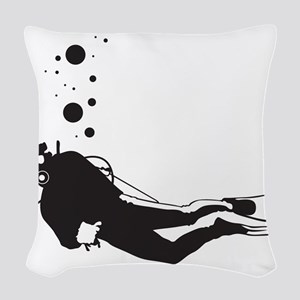 Scuba Diving Woven Throw Pillow
