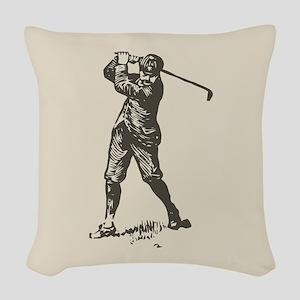 Retro Golfer Woven Throw Pillow